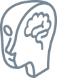 Icon of brain study on the grey matter timeline