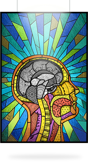 Image of stained glass showing brain affected by multiple sclerosis